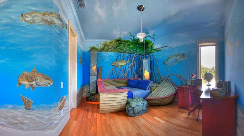 Batık gemi temalı çocuk odası
