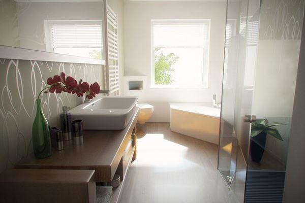 Beyaz Aydınlık duşakabinli Banyo