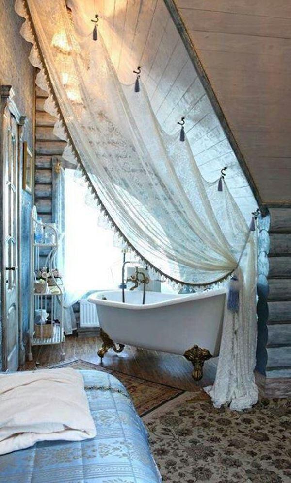 Bohem tüllü banyo dekorasyon
