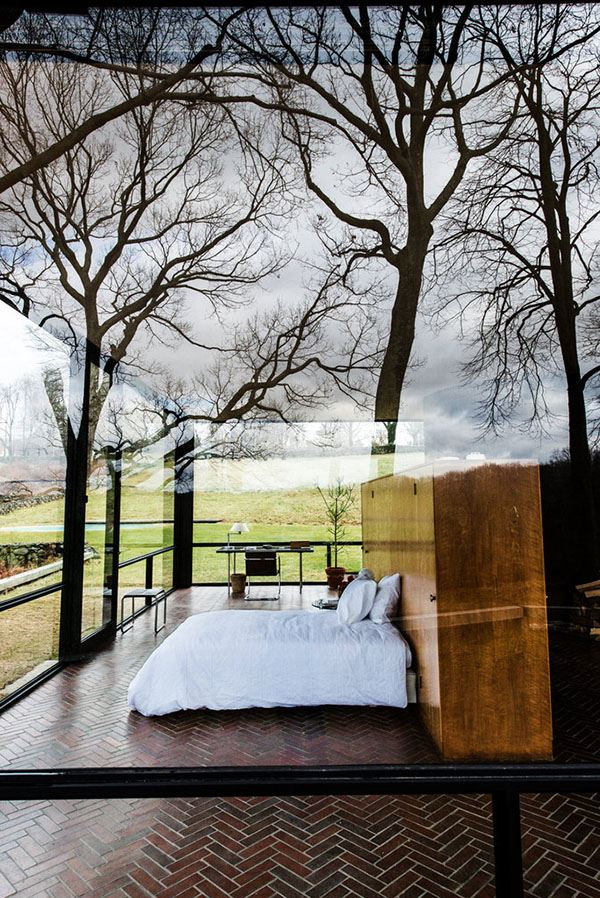 Interesting bedroom with glass house