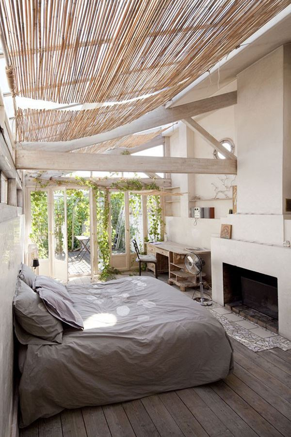 Interesting bedroom with natural bamboo