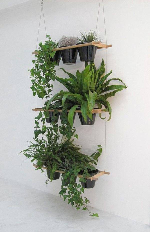 Flowerpot hanging from wall