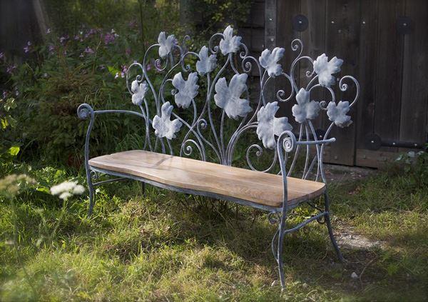 Ferforje bahçe mobilyaları çiçekli bahçe bank