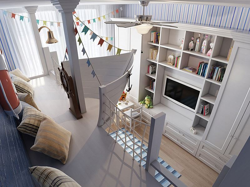 Ship-themed children's room