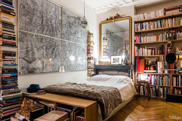 Interesting bedroom with library