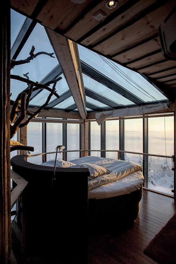 Interesting bedroom with luxurious forest view