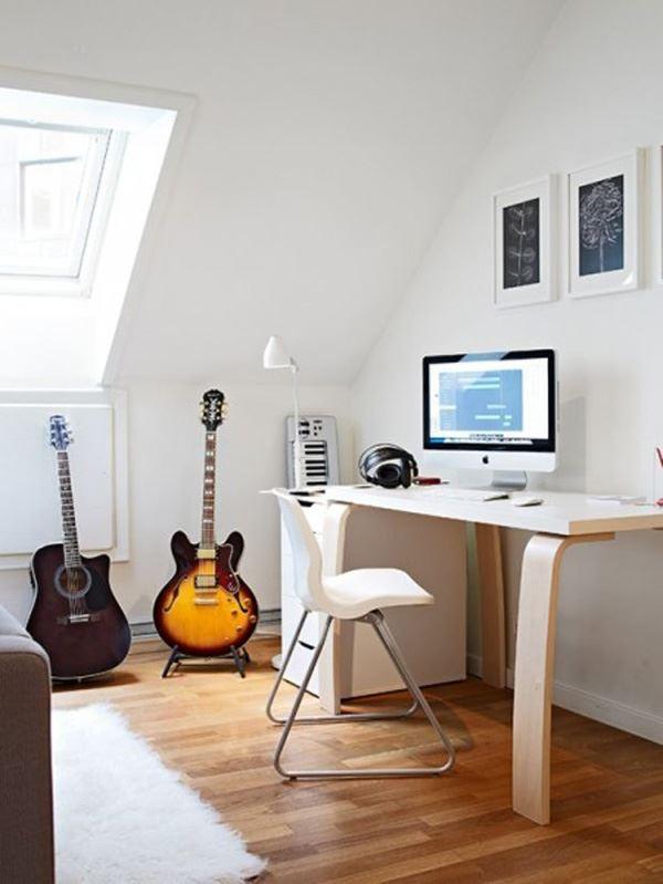 Müzik sevenler için çalışma odası dekorasyon fikirleri