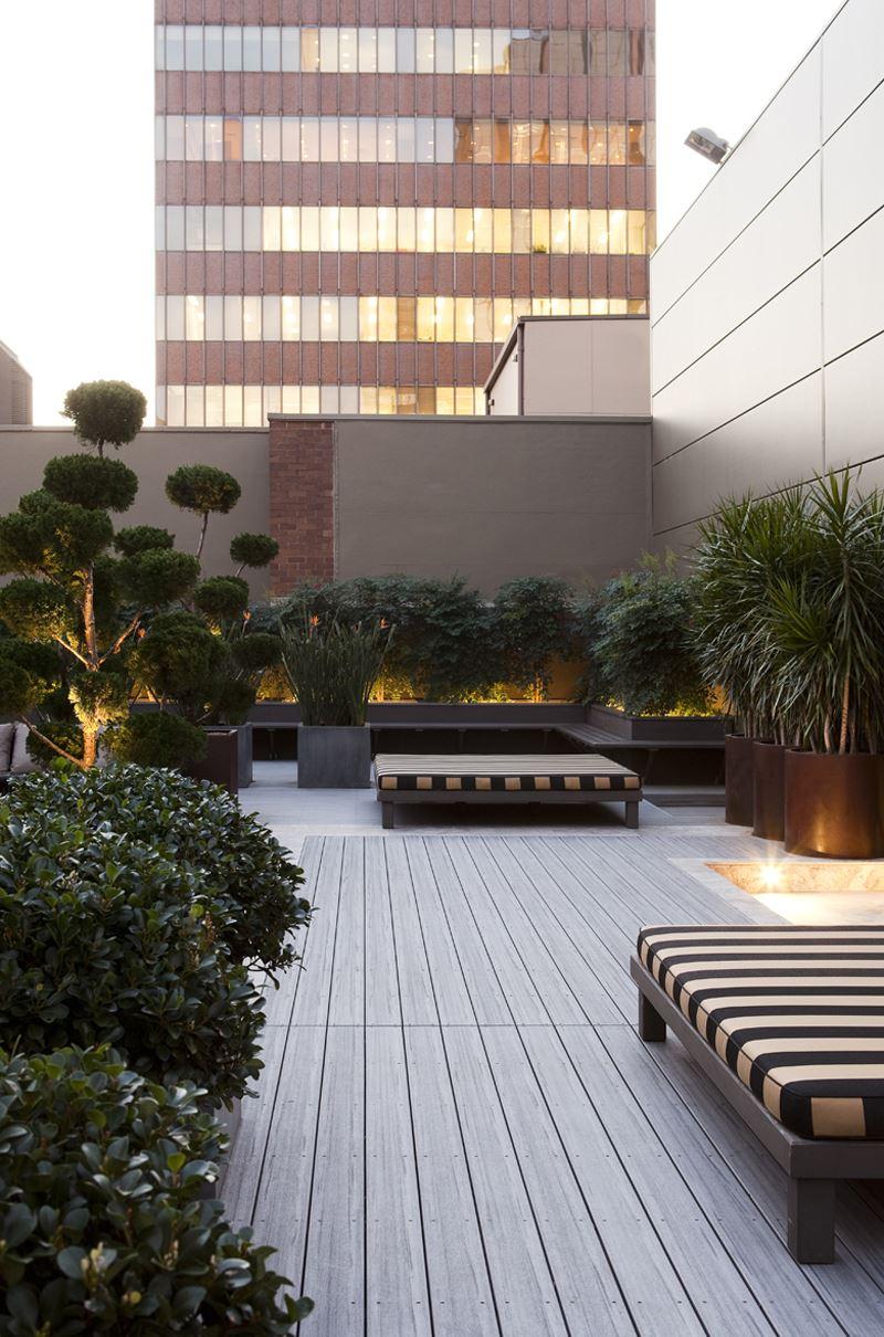 Modern ağaçlı teras dekorasyon