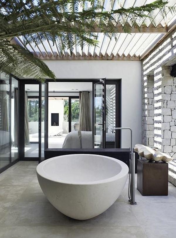 Modern bahçe banyo dekorasyonu