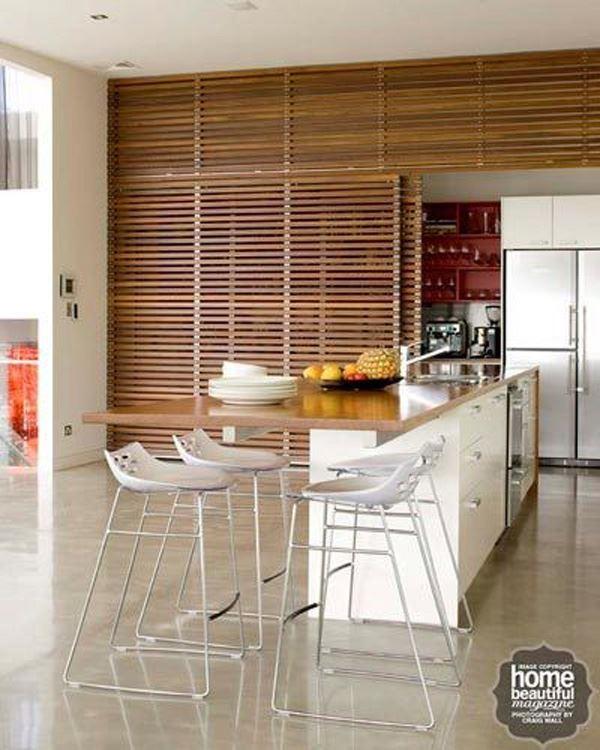 Modern beyaz ahşap amerikan mutfak