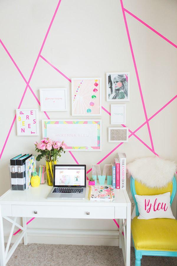 Modern tarzda pestel home office dekorasyonu