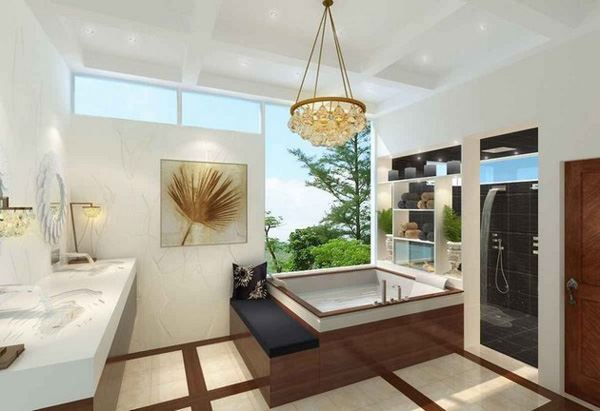 Orman manzaralı modern mimari banyo