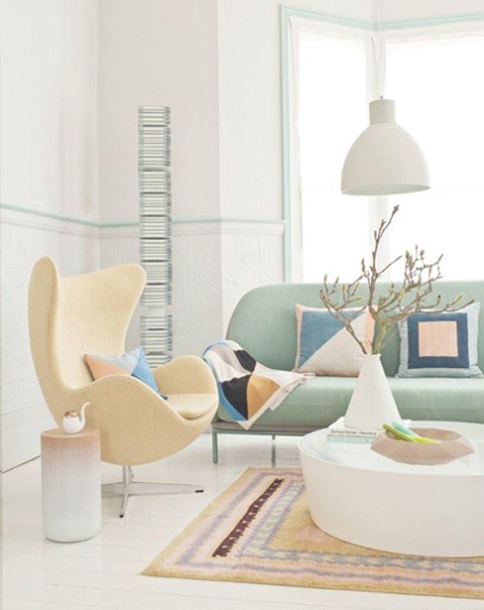 Pastel tonlarda oturma odası modern