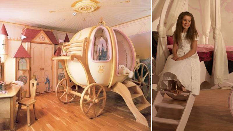 Prenses arabası temalı çocuk odası