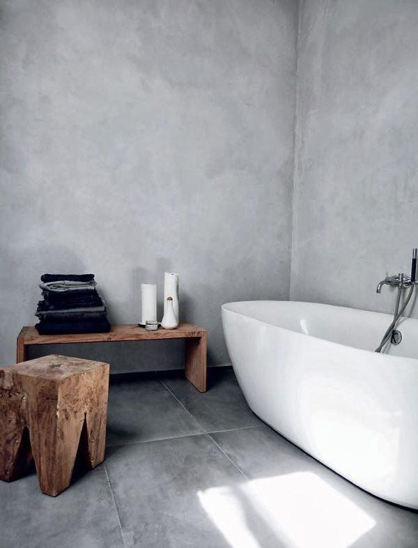 Sade taş duvar banyo dekroasyonu
