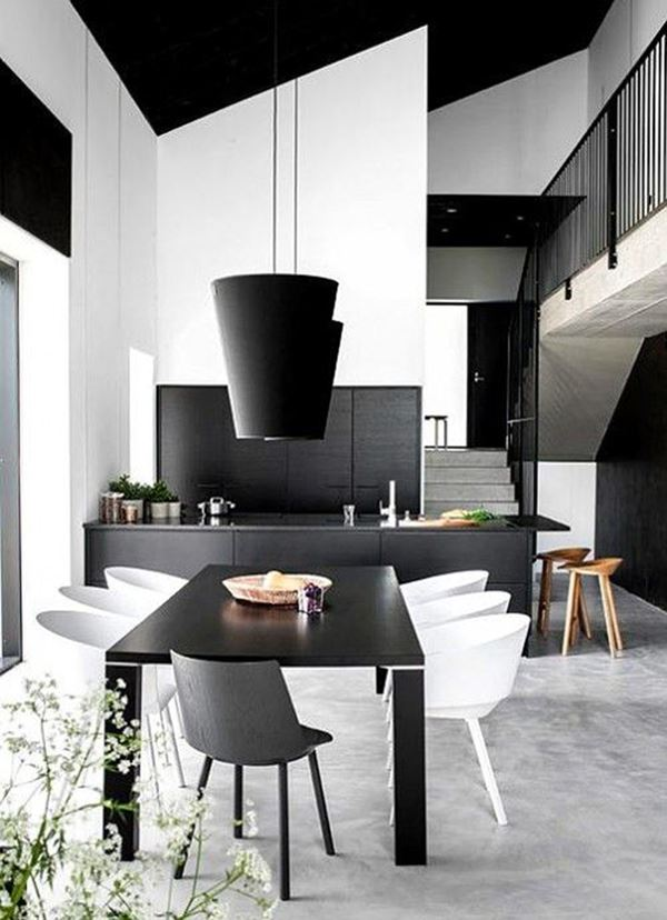 Siyah Mobilyalı Siyah beyaz Amerikan mutfak modelleri