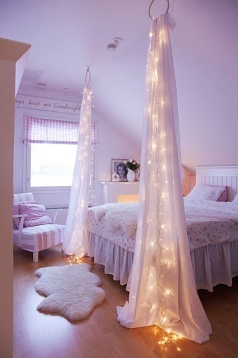 Tüllerle romantik yatak odası dekorasyonu
