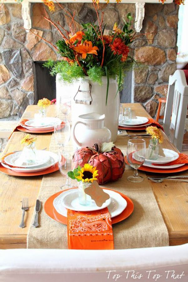 Design of dining table with orange colors
