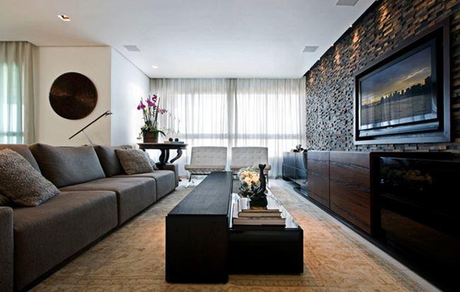 Uzun oturma odası dekorasyonu Ahşap