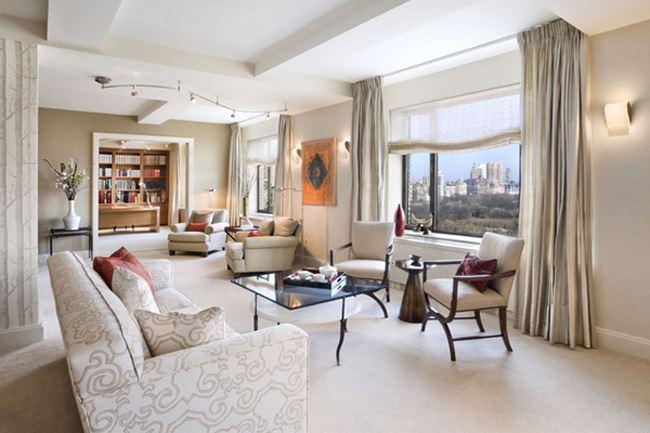 Uzun oturma odası dekorasyonu Apartman