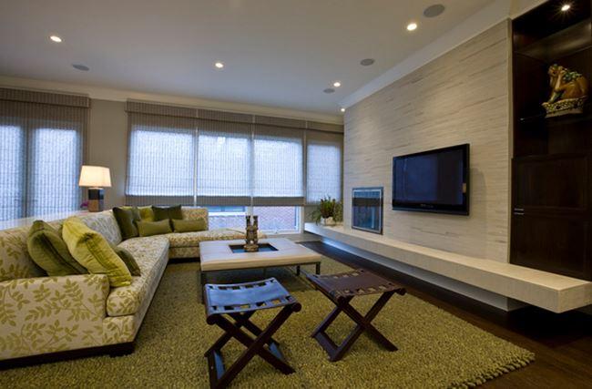 Uzun oturma odası dekorasyonu Küçük