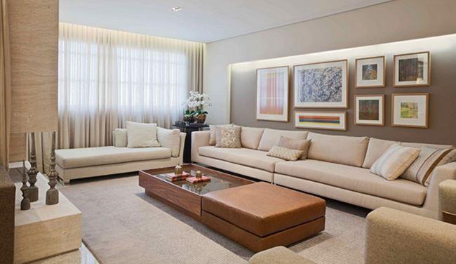 Uzun oturma odası dekorasyonu Klasik