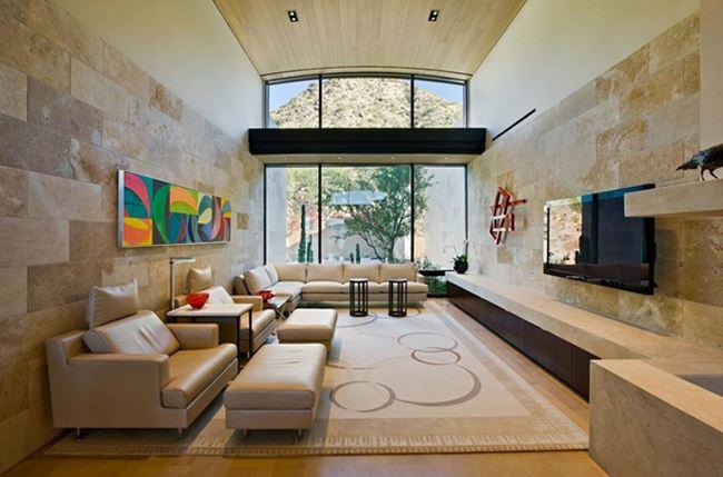 Uzun oturma odası dekorasyonu Modern