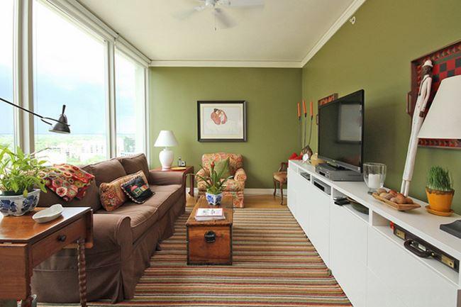 Uzun oturma odası dekorasyonu Salaş