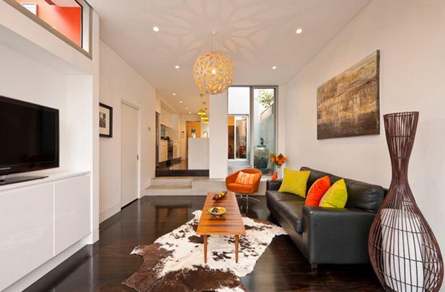 Uzun salon dekorasyonu Modern