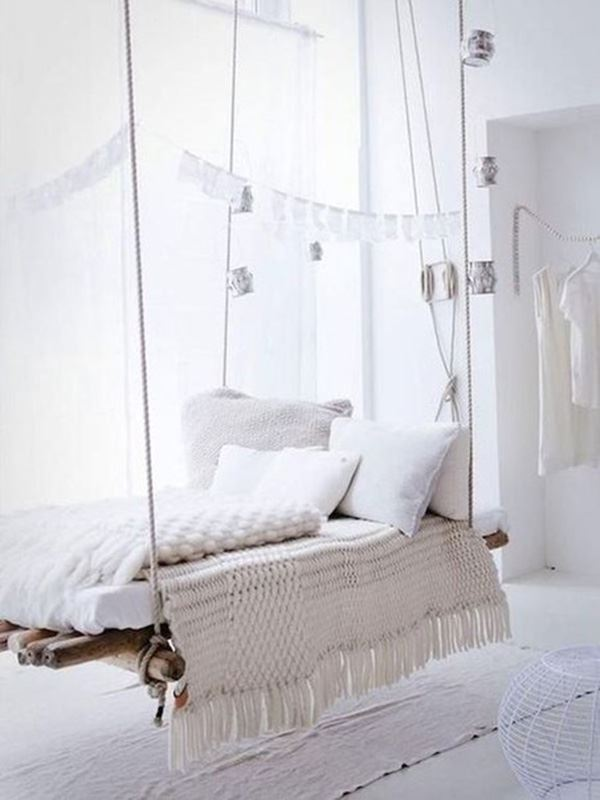 interesting bed white room with drawstring